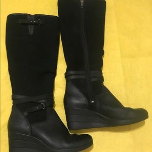 Ugg black Lesley wedge boots